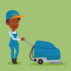 Young african-american woman cleaning supermarket floor. Friendly woman working with cleaning machine. Female worker of cleaning services in supermarket. Vector flat design illustration. Square layout