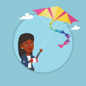 Young african-american woman flying a colourful kite. Woman controlling a kite. Happy woman walking with kite. Vector flat design illustration in the circle isolated on background.