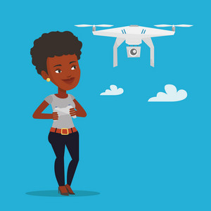 Young african-american woman flying drone with remote control. Smiling woman operating a drone with remote control. Happy woman controling a drone. Vector flat design illustration. Square layout.