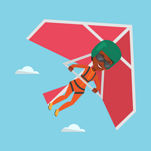 Young african-american woman flying on hang-glider. Sportswoman taking part in hang gliding competitions. Woman having fun while gliding on delta-plane. Vector flat design illustration. Square layout.
