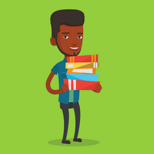 Young african-american woman holding a pile of educational books in hands. Student carrying huge stack of books. Student preparing for exam with books. Vector flat design illustration. Square layout.