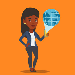 Young african-american woman holding a smartphone with a model of planet earth coming out of the device. International technology communication concept. Vector flat design illustration. Square layout.