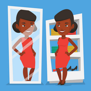 Young african-american woman looking at himself in dressing room. Happy woman trying on dress in dressing room. Woman choosing clothes in dressing room. Vector flat design illustration. Square layout.