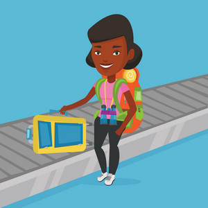 Young african-american woman picking up her suitcase on luggage conveyor belt at airport. Happy passenger taking her luggage at conveyor belt at airport. Vector flat design illustration. Square layout