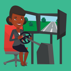 Young african-american woman playing video game with gaming wheel. Happy gamer driving autosimulator in game room. Woman playing car racing video game. Vector flat design illustration. Square layout.