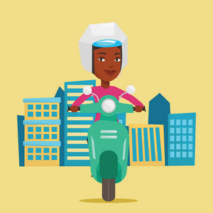 Young african-american woman riding a scooter on a city background. Woman in helmet driving a scooter in the city street. Happy woman driving a scooter. Vector flat design illustration. Square layout.