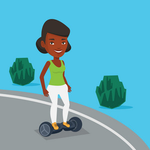 Young african-american woman riding on self-balancing electric scooter in the park. Cheerful woman standing on self-balancing electric scooter outdoor. Vector flat design illustration. Square layout.