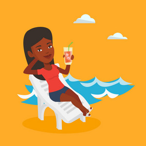 Young african-american woman sitting on a beach chair. Happy woman drinking a cocktail on a beach chair. Joyful woman on a beach chair with cocktail. Vector flat design illustration. Square layout.