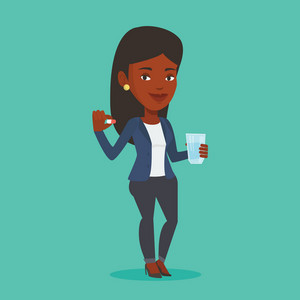 Young african-american woman taking pills. Healthy woman holding pills and glass of water in hands. Happy woman taking pills. Healthy lifestyle concept. Vector flat design illustration. Square layout