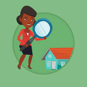 Young african-american woman using a magnifying glass for looking for a new house. Woman with a magnifying glass checking a house. Vector flat design illustration in the circle isolated on background.