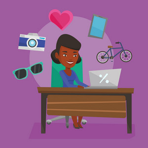 Young african-american woman using laptop for online shopping. Happy woman doing online shopping. Woman buying in online shop. Girl buying on internet. Vector flat design illustration. Square layout.