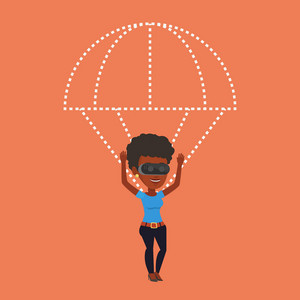 Young african-american woman wearing virtual reality glasses and flying with parachute. Woman in vr headset having fun while flying in virtual reality. Vector flat design illustration. Square layout.