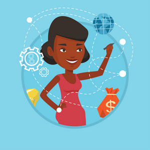 Young african-american woman writing on a virtual screen. Business woman drawing a cloud computing diagram on a virtual screen. Vector flat design illustration in the circle isolated on background.