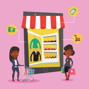 Young african-american women doing online shopping. Smiling women using mobile shopping. Happy people walking in store that looks like tablet computer. Vector flat design illustration. Square layout.