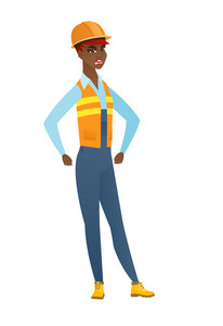 Young african angry builder screaming. Full length of angry builder clenching fists. Angry builder in hard hat shouting with raised fists. Vector flat design illustration isolated on white background.