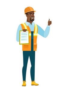 Young african builder holding clipboard and giving thumb up. Full length of builder with clipboard. Builder in hard hat showing clipboard. Vector flat design illustration isolated on white background.
