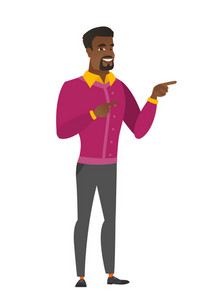 Young african business man pointing to the side. Business man pointing his finger to the side. Business man pointing to the right side. Vector flat design illustration isolated on white background.