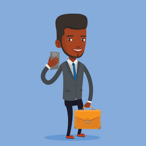 Young african business man with briefcase making selfie. Business man making selfie with cellphone. Business man looking at smartphone and taking selfie. Vector flat design illustration. Square layout