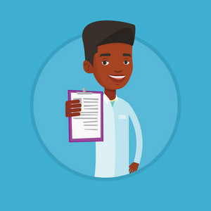 Young african doctor showing patient records. Doctor showing clipboard with prescription. Doctor in medical gown holding clipboard. Vector flat design illustration in the circle isolated on background