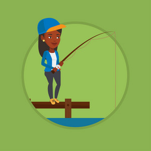 Young african fisherwoman fishing on the lake. Woman relaxing during fishing on jetty. Angler standing on jetty with fishing rod. Vector flat design illustration in the circle isolated on background.
