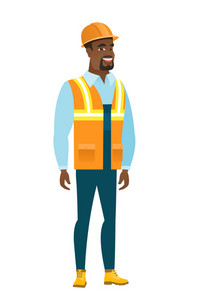 Young african happy builder in hard hat and workwear. Full length of smiling happy builder posing. Illustration of happy standing builder. Vector flat design illustration isolated on white background.