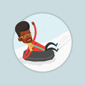 Young african man having fun while sledding on snow rubber tube. Man riding on snow rubber tube. Man sitting in snow rubber tube. Vector flat design illustration in the circle isolated on background.