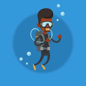 Young african man in diving suit snorkeling and giving thumb up. Man diving with scuba and showing ok sign. Man enjoying the dive. Vector flat design illustration in the circle isolated on background.
