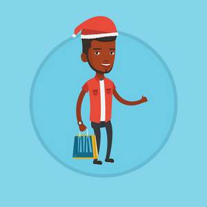 Young african man in santa hat holding shopping bags and giving thumb up. Man carrying shopping bags. Man buying christmas gifts. Vector flat design illustration in the circle isolated on background.