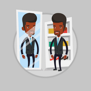 Young african man looking in a mirror at dressing room. Man trying on suit in dressing room. Man choosing clothes in dressing room. Vector flat design illustration in the circle isolated on background