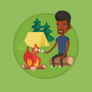 Young african man sitting near campfire with marshmallow. Man roasting marshmallow over campfire. Tourist relaxing near campfire. Vector flat design illustration in the circle isolated on background.