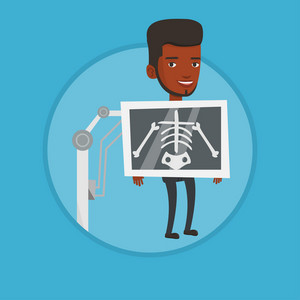 Young african patient during chest x ray procedure. Man with x ray screen showing his skeleton. Patient visiting roentgenologist. Vector flat design illustration in the circle isolated on background.