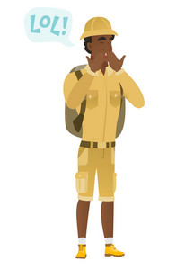 Young african traveler laughing out loud. Traveler and speech bubble with text - lol. Traveler laughing out loud and covering his mouth. Vector flat design illustration isolated on white background.
