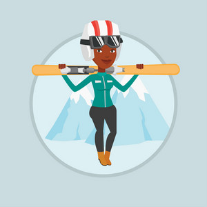 Young african woman carrying skis. Sportswoman standing with skis on shoulders on the background of mountain. Young woman skiing. Vector flat design illustration in the circle isolated on background.
