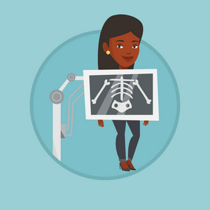 Young african woman during chest x ray procedure. Woman with x ray screen showing her skeleton. Patient visiting roentgenologist. Vector flat design illustration in the circle isolated on background.