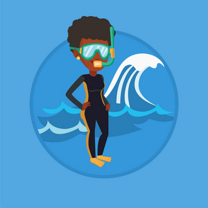 Young african woman in diving suit standing on the background of a big wave. Diver enjoying snorkeling. Diver ready for snorkeling. Vector flat design illustration in the circle isolated on background