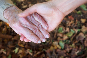 Young and senior holding  hands over autumn  leaves