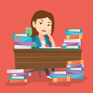 Young angry student studying with textbooks. Caucasian annoyed student studying hard before the exam. Bored female student studying in the library. Vector flat design illustration. Square layout