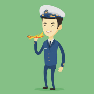 Young asian airline pilot holding model of airplane in hand. Cheerful airplane pilot in uniform. Smiling airplane pilot standing with model of airplane. Vector flat design illustration. Square layout.