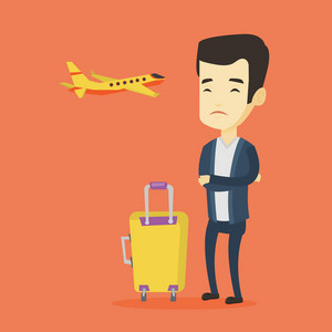 Young asian airplane passenger frightened by future flight. Man suffering from fear of flying. Terrified passenger with suitcase waiting for a flight. Vector flat design illustration Square layout.