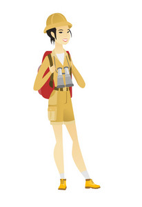 Young asian backpacker with backpack and binoculars. Full body portrait of happy backpacker traveling. Backpacker with binoculars on neck. Vector flat design illustration isolated on white background.