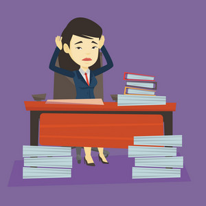 Young asian bsiness woman in despair sitting at workplace with heaps of papers. Stressful business woman sitting at the desk with stacks of papers. Vector flat design illustration. Square layout.