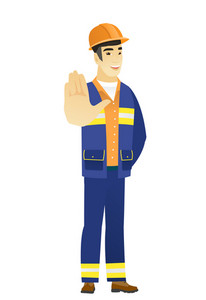 Young asian builder showing palm hand. Full length of builder showing palm hand. Builder making stop gesture by his palm. Vector flat design illustration isolated on white background.