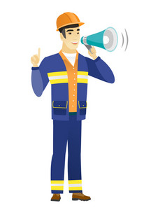 Young asian builder with a megaphone making an announcement. Builder in hard hat and workwear making an announcement through megaphone. Vector flat design illustration isolated on white background.