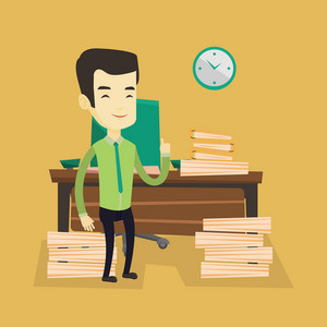 Young asian business man standing in office and pointing at time on clock. Business man working against time. Concept of time management. Vector flat design illustration. Square layout.