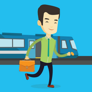 Young asian business man walking on the train platform. Smiling business man going out of train. Happy business man walking on the train station. Vector flat design illustration. Square layout.