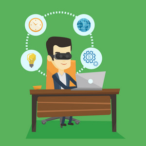 Young asian business man wearing virtual reality headset and working on a computer. Happy business man using virtual reality device in the office. Vector flat design illustration. Square layout.