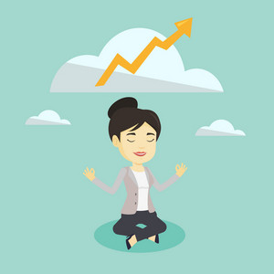 Young asian business woman doing yoga in lotus position and thinking about the growth graph. Peaceful business woman meditating in yoga lotus position. Vector flat design illustration. Square layout.