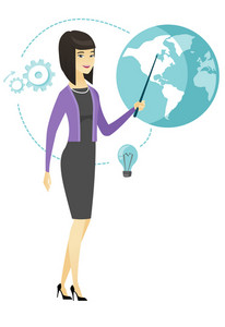Young asian business woman standing in front of globe. Full length of business woman pointing at a globe. Concept of global business. Vector flat design illustration isolated on white background.