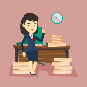 Young asian business woman standing in office and pointing at time on clock. Business woman working against time. Concept of time womanagement. Vector flat design illustration. Square layout.