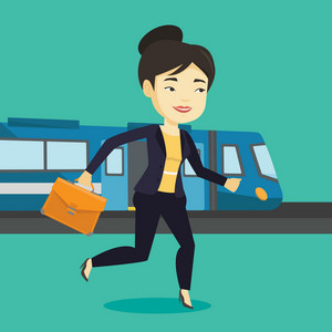 Young asian business woman walking on the train platform. Smiling business woman going out of train. Happy business woman walking on the train station. Vector flat design illustration. Square layout.